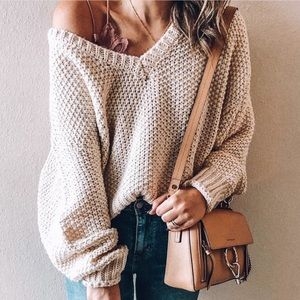 Sweaters - NEW! Latte Ribbed Hem Loose Knit Oversized Sweater